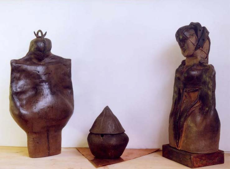 I guardiani Terracotta, rame, base in legno 2001 63x44x25cm